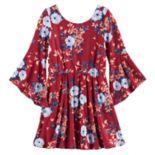 Girls 7-16 My Michelle Floral Trumpet Sleeve Dress