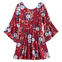 Girls 7-16 My Michelle Floral Trumpet Sleeve Dress