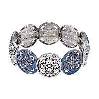 Blue Filigree Disc Stretch Bracelet