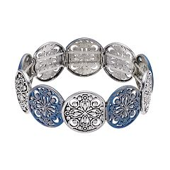 Blue Filigree Disc Stretch Bracelet