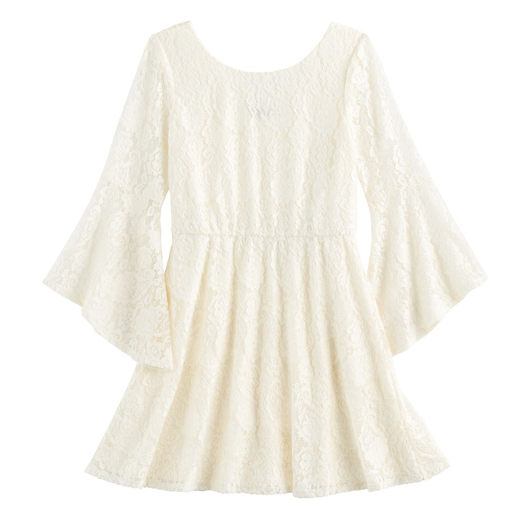 Girls 7-16 My Michelle Trumpet Sleeve Lace Dress