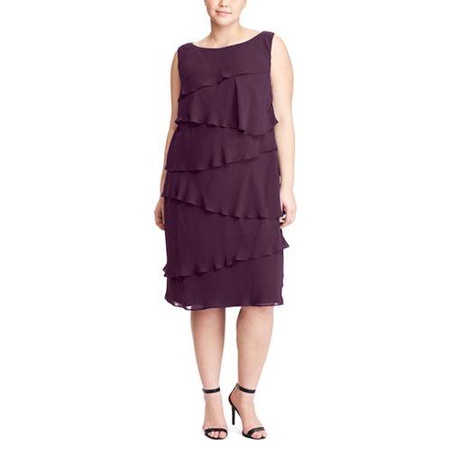 Plus Size Chaps Tiered Georgette Sheath Dress