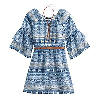 Girls 7-16 My Michelle Patterned Ruffle Sleeve Belted Dress with Bolo Necklace