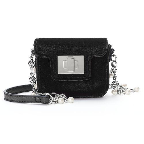 SO® Velvet Simulated Pearl Chain Mini Crossbody Bag