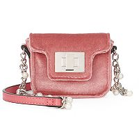 SO® Velvet Simulated Pearl Chain Mini Crossbody Bag