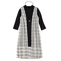 Girls 7-16 My Michelle Mockneck Cozy Duster Vest & Dress Set with Necklace