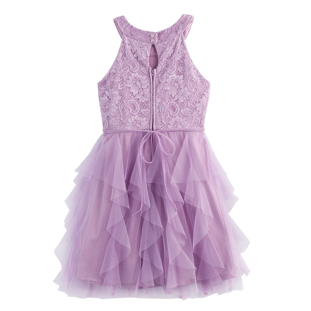 Girls 7-16 My Michelle Lace Bodice & Waterfall Skirt Dress