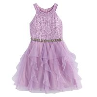 Girls 7-16 My Michelle Lace Bodice & Waterfall Skirt Dress