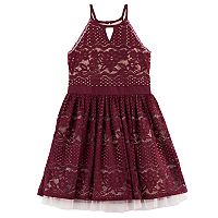 Girls 7-16 My Michelle Lace Halter Dress