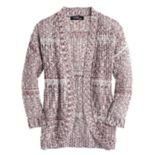 Girls 7-16 Sugar Rush Open-Front Crochet Back Cardigan
