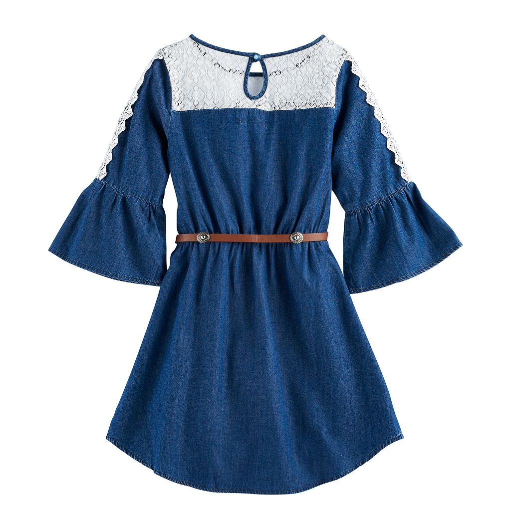 Girls 7-16 My Michelle Lace Chambray Belted Dress