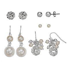 Simulated Pearl Love Knot Stud & Drop Earring Set