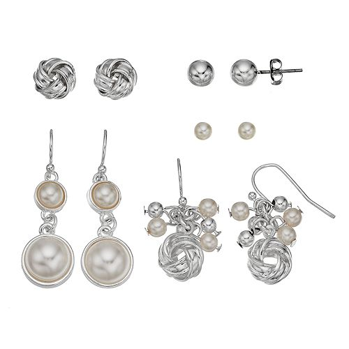 Simulated Pearl Love Knot Stud & Drop Earring Set