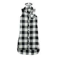 Girls 7-16 My Michelle Buffalo Checkered High-Low Shirtdress with Choker Necklace