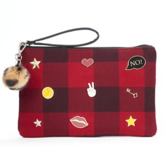 SO® Buffalo Plaid Pin Wristlet