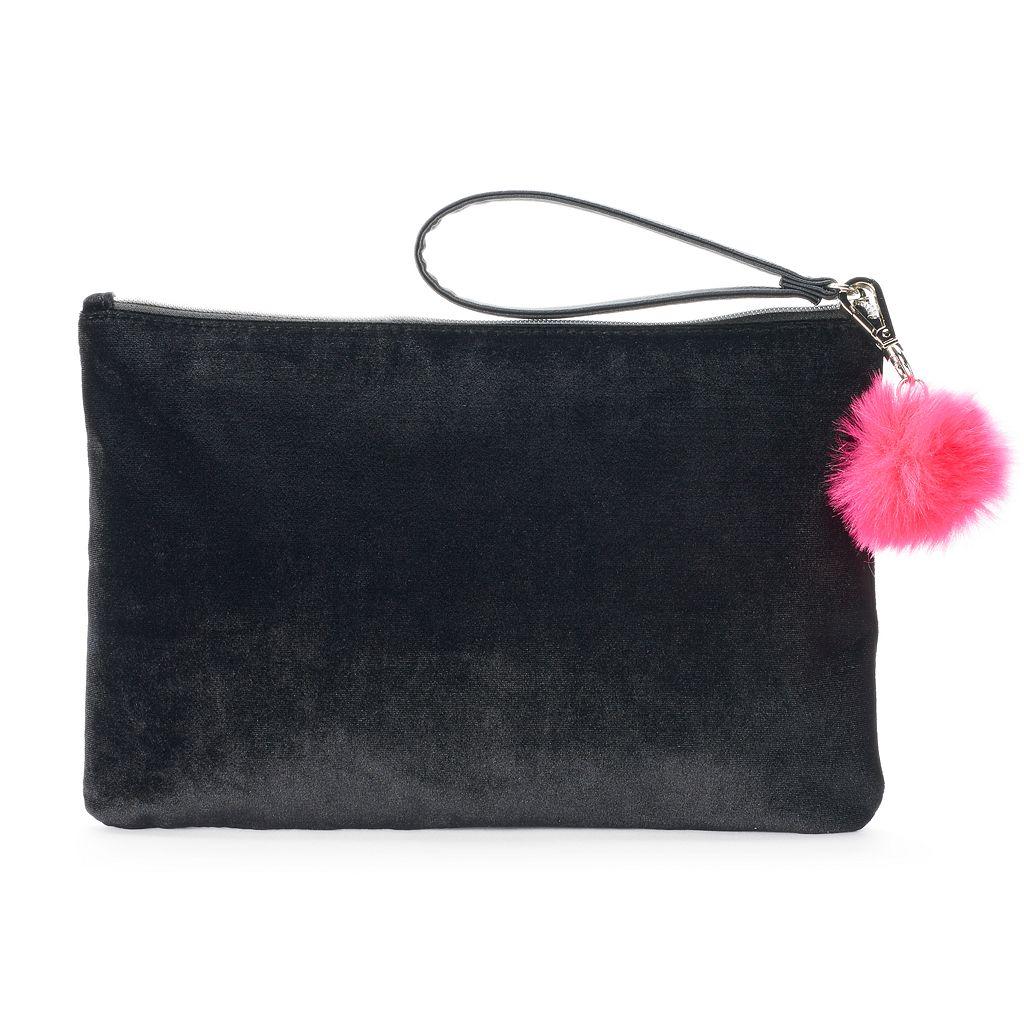 SO® Pom Pom Embroidered Velvet Wristlet