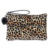 SO® Pom Pom Embroidered Velvet Wristlet