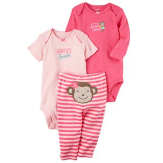 "Baby Girl Carter's ""Auntie's Favorite"" Bodysuit, ""Little Sweetheart"" Bodysuit & Monkey Pants Set"