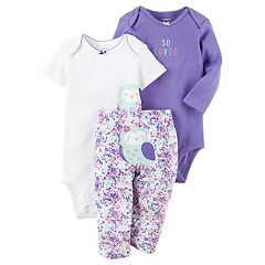 Baby Girl Carter's Owl Bodysuit, 'So Loved' Bodysuit & Floral Pants Set