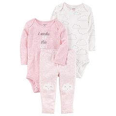 Baby Girl Carter's Cloud Bodysuit, 'I Woke Up This Cute' Bodysuit & Striped Pants Set