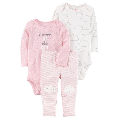 "Baby Girl Carter's Cloud Bodysuit, ""I Woke Up This Cute"" Bodysuit & Striped Pants Set"
