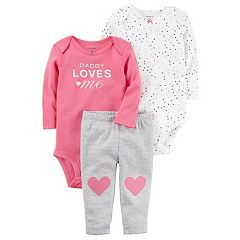 Baby Girl Carter's Heart Bodysuit, 'Daddy Loves Me' Bodysuit & Striped Pants Set