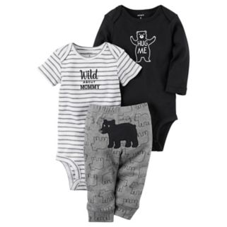 "Baby Boy Carter's ""Wild About Mommy"" Bodysuit, Bear Bodysuit & Pants Set"