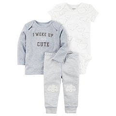 Baby Boy Carter's 'I Woke Up This Cute' Graphic Tee, Clouds Bodysuit & Striped Pants Set