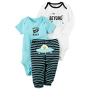 Baby Boy Carter's 'Beyond Cute' Bodysuit, Graphic Bodysuit & Striped Pants Set