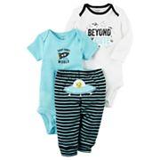 Baby Boy Carter's 'Beyond Cute' Bodysuit, Graphic Bodysuit & Striped Pants Set