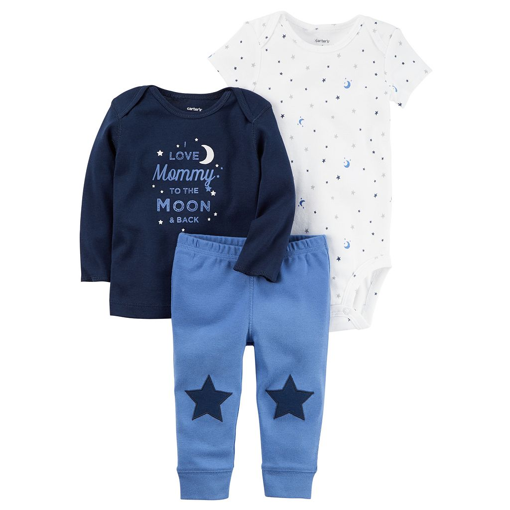 Baby Boy Carter's Graphic Tee, Print Bodysuit & Star Pants Set