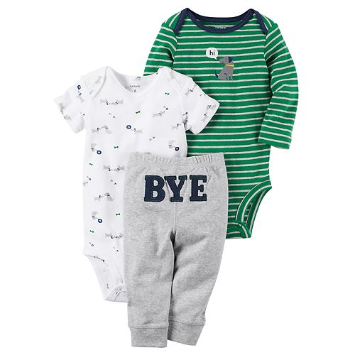 "Baby Boy Carter's Dog Bodysuit, Striped Bodysuit & ""Bye"" Pants Set"