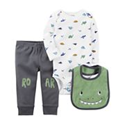 Baby Boy Carter's Dino Bodysuit, 'Roar' Pants & Graphic Bib Set