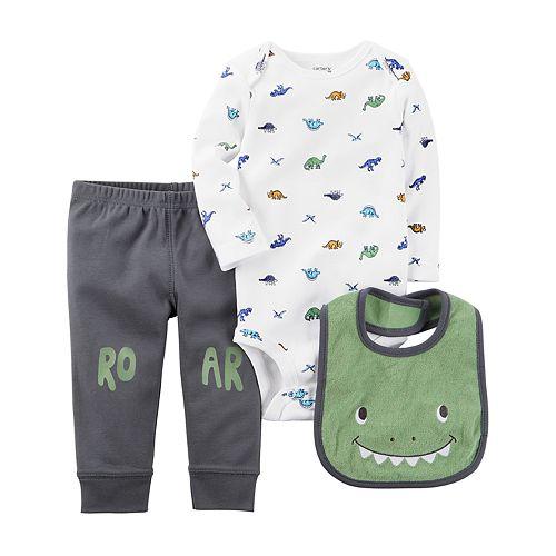 "Baby Boy Carter's Dino Bodysuit, ""Roar"" Pants & Graphic Bib Set"