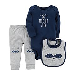 Baby Boy Carter's 'I Like the Night Life' Bodysuit, Raccoon Pants & Bib Set