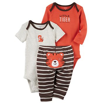 Baby Boy Carter's Tiger Bodysuit, Embroidered Bodysuit & Striped Pants Set