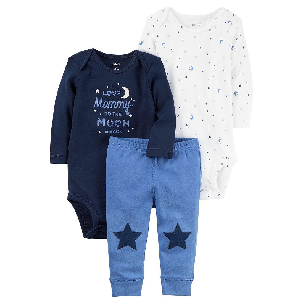 Baby Boy Carter's Graphic Bodysuit, Print Bodysuit & Star Pants Set