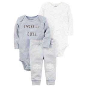 "Baby Boy Carter's Cloud Bodysuit, ""I Woke Up This Cute"" Bodysuit & Striped Pants Set"