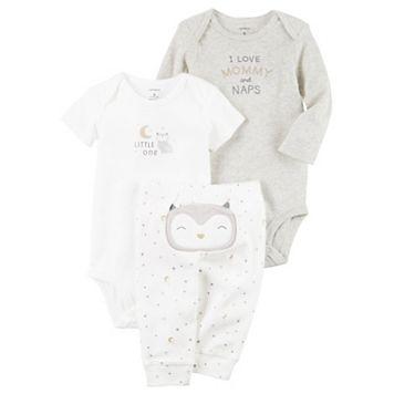 Baby Carter's Owl Character Long Sleeve Bodysuit, Short Sleeve Bodysuit & Bottoms Set