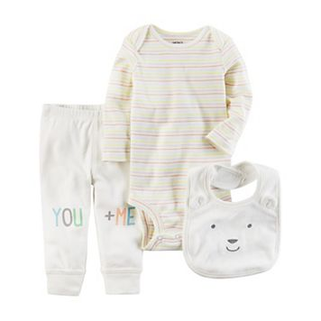 Baby Carter's Striped Bodysuit, Graphic Pants & Bib Set