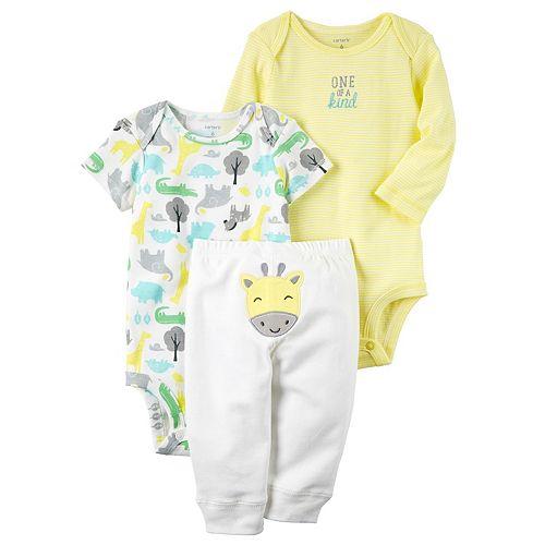 Baby Carter's Animal Bodysuit, Embroidered Bodysuit & Giraffe Pants Set