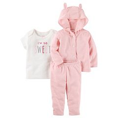 Baby Girl Carter's 'I'm So Sweet' Tee,  Button-Front Sweater & Pants Set