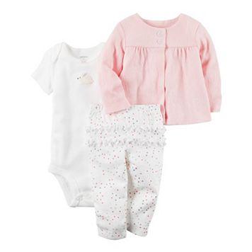 Baby Girl Carter's Bunny Bodysuit, Gauze Cardigan & Ruffled Pants Set