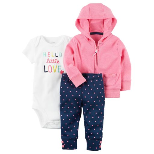 "Baby Girl Carter's ""Hello Little Love"" Bodysuit, Hooded Cardigan & Polka-Dot Pants Set"