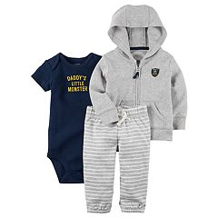 Baby Boy Carter's 'Daddy's Little Monster' Bodysuit, Hooded Cardigan & Striped Pants Set
