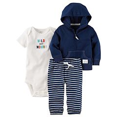 Baby Boy Carter's 'Wild About Mommy' Bodysuit, Hooded Cardigan & Striped Pants Set