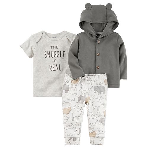 """Baby Carter's """"The Snuggle is Real"""" Tee, Hooded Cardigan & Animal Pants Set"""