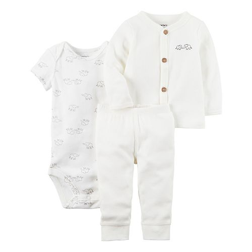 Baby Carter's Elephant Bodysuit, Ribbed Cardigan & Pants Set
