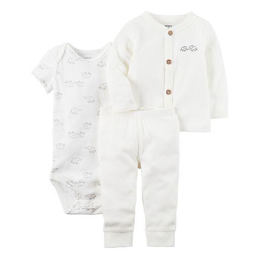 Baby Carter's Elephant Bodysuit, Ribbed Cardigan & Pants Set