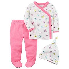 Baby Girl Carter's Butterfly Kimono Top, Footed Pants & Hat Set